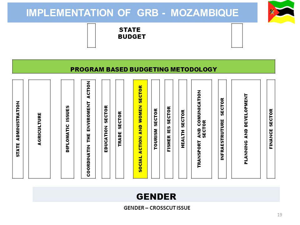 19 GENDER – CROSSCUT ISSUE STATE BUDGET PROGRAM BASED BUDGETING METODOLOGY STATE ADMINISTRATION AGRICULTURE DIPLOMATIC ISSUES COORDINATIN THE ENVIROMENT ACTION EDUCATION SECTOR TRADE SECTOR SOCIAL ACTION AND WOMEN SECTOR TOURISM SECTOR FISHER IES SECTOR HEALTH SECTOR TRANSPORT AND COMUNICATION SECTOR INFRAESTRUTURE SECTOR PLANNING AND DEVELOPMENT FINANCE SECTOR GENDER IMPLEMENTATION OF GRB - MOZAMBIQUE