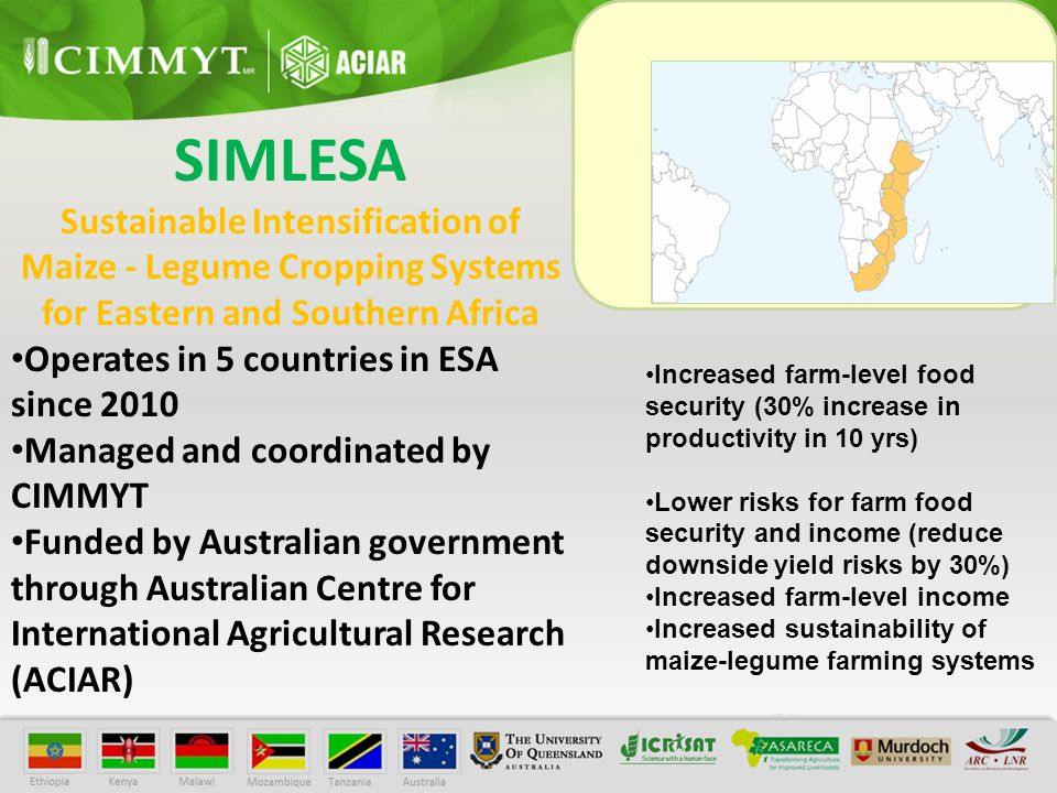 SIMLESA Sustainable Intensification of Maize - Legume Cropping Systems for Eastern and Southern Africa Operates in 5 countries in ESA since 2010 Managed and coordinated by CIMMYT Funded by Australian government through Australian Centre for International Agricultural Research (ACIAR) Increased farm-level food security (30% increase in productivity in 10 yrs) Lower risks for farm food security and income (reduce downside yield risks by 30%) Increased farm-level income Increased sustainability of maize-legume farming systems