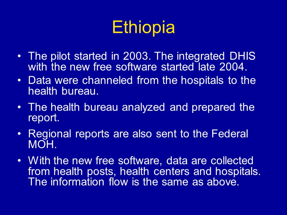 Ethiopia The pilot started in 2003.