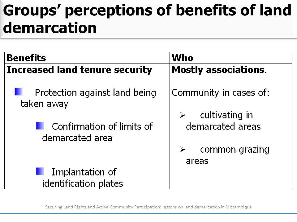 Securing Land Rights and Active Community Participation: lessons on land demarcation in Mozambique Groups' perceptions of benefits of land demarcation