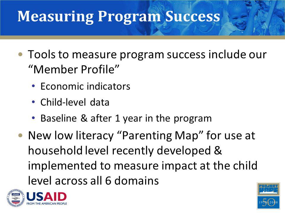 "Measuring Program Success Tools to measure program success include our ""Member Profile"" Economic indicators Child-level data Baseline & after 1 year i"