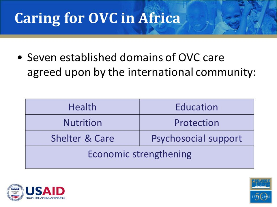 Rationale : Caring for OVC is an Economic Issue Majority of OVC care is through informal fostering (relative & non-relative families) Poverty – a significant barrier to achieving even the most basic needs of OVC Expanded household size increases basic needs requiring more financial resources HIV contributes to reduced economic productivity while assets are liquidated for needs Vulnerability of children is linked to economic resources available