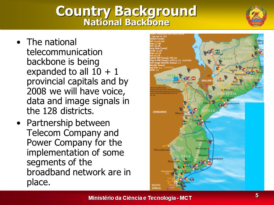 Ministério da Ciência e Tecnologia - MCT 5 Country Background National Backbone The national telecommunication backbone is being expanded to all 10 +