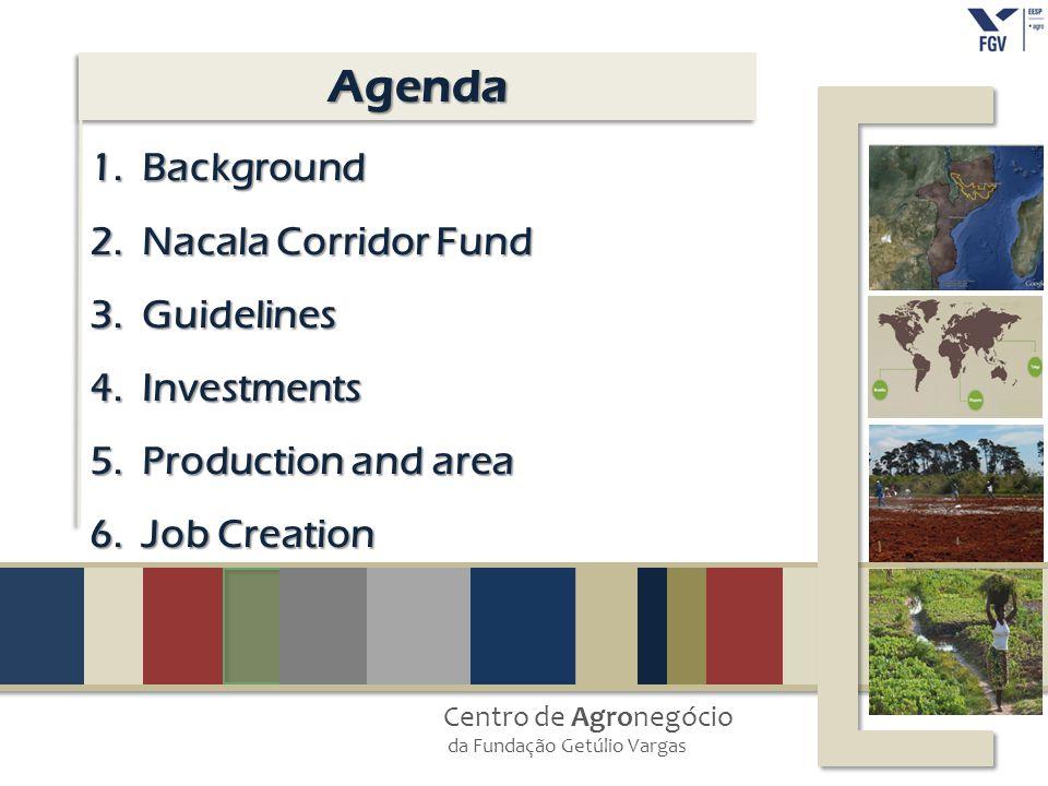 Centro de Agronegócio da Fundação Getúlio Vargas AgendaAgenda 1.Background 2.Nacala Corridor Fund 3.Guidelines 4.Investments 5.Production and area 6.J