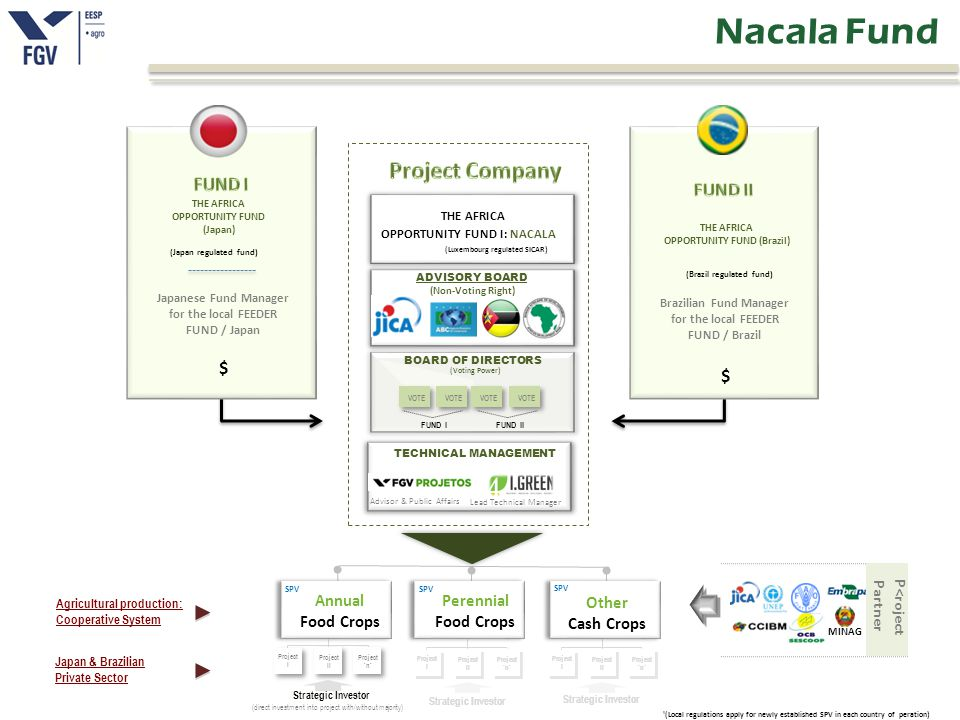 Strategic Investor (direct investment into project with/without majority) Project I Project II Project `n` Strategic Investor Project I Project II Project `n` Strategic Investor Project I Project II Project `n` SPV Annual Food Crops ¹(Local regulations apply for newly established SPV in each country of peration) SPV Perennial Food Crops Other Cash Crops Japan & Brazilian Private Sector THE AFRICA OPPORTUNITY FUND (Japan) (Japan regulated fund) Japanese Fund Manager for the local FEEDER FUND / Japan THE AFRICA OPPORTUNITY FUND (Brazil) (Brazil regulated fund) (Luxembourg regulated SICAR) THE AFRICA OPPORTUNITY FUND I: NACALA FUND I VOTE BOARD OF DIRECTORS (Voting Power) FUND II ADVISORY BOARD Strategic Investor (Non-Voting Right) Agricultural production: Cooperative System Brazilian Fund Manager for the local FEEDER FUND / Brazil Lead Technical Manager Advisor & Public Affairs MINAG $ $ Partner P<roject TECHNICAL MANAGEMENT Nacala Fund