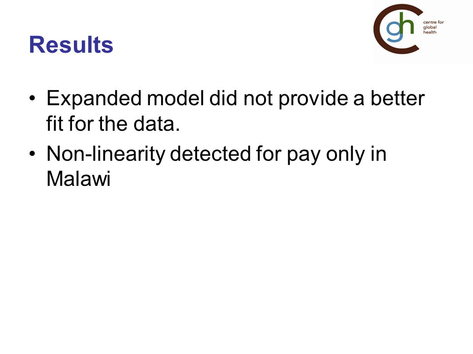 Results Expanded model did not provide a better fit for the data.
