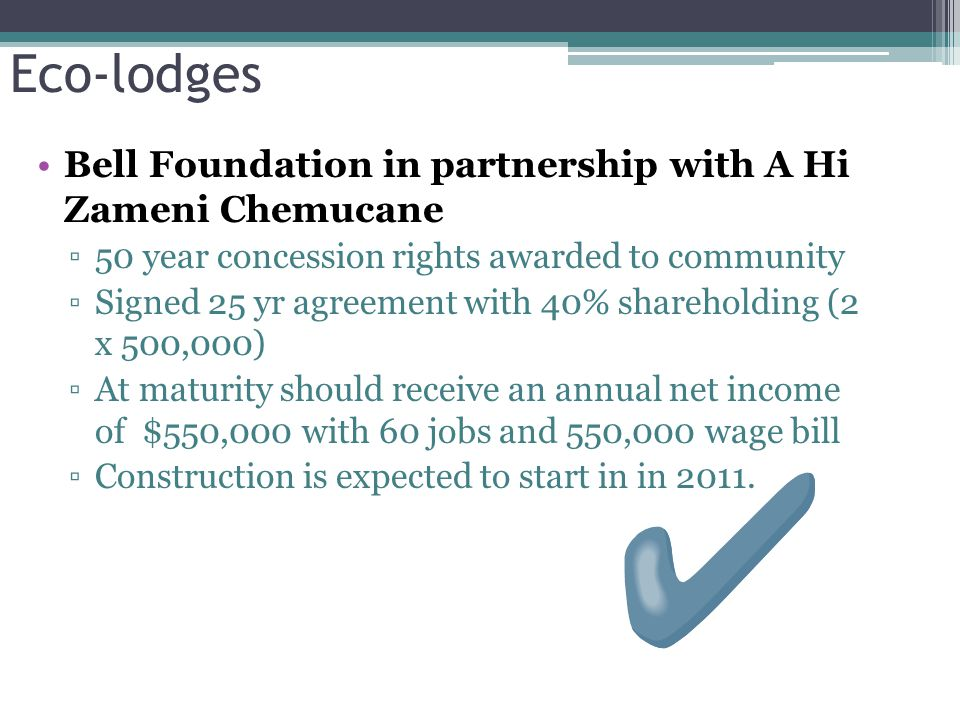 Eco-lodges Bell Foundation in partnership with A Hi Zameni Chemucane ▫50 year concession rights awarded to community ▫Signed 25 yr agreement with 40% shareholding (2 x 500,000) ▫At maturity should receive an annual net income of $550,000 with 60 jobs and 550,000 wage bill ▫Construction is expected to start in in 2011.