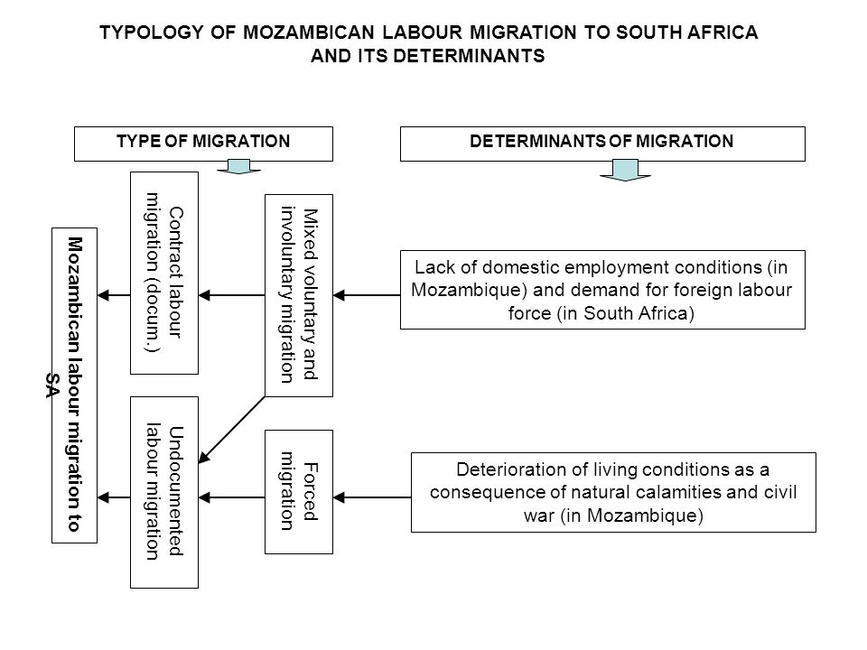 TYPOLOGY OF MOZAMBICAN LABOUR MIGRATION TO SOUTH AFRICA AND ITS DETERMINANTS Mozambican labour migration to SA Contract labour migration (docum.) Undocumented labour migration Forced migration Mixed voluntary and involuntary migration TYPE OF MIGRATIONDETERMINANTS OF MIGRATION Lack of domestic employment conditions (in Mozambique) and demand for foreign labour force (in South Africa) Deterioration of living conditions as a consequence of natural calamities and civil war (in Mozambique)