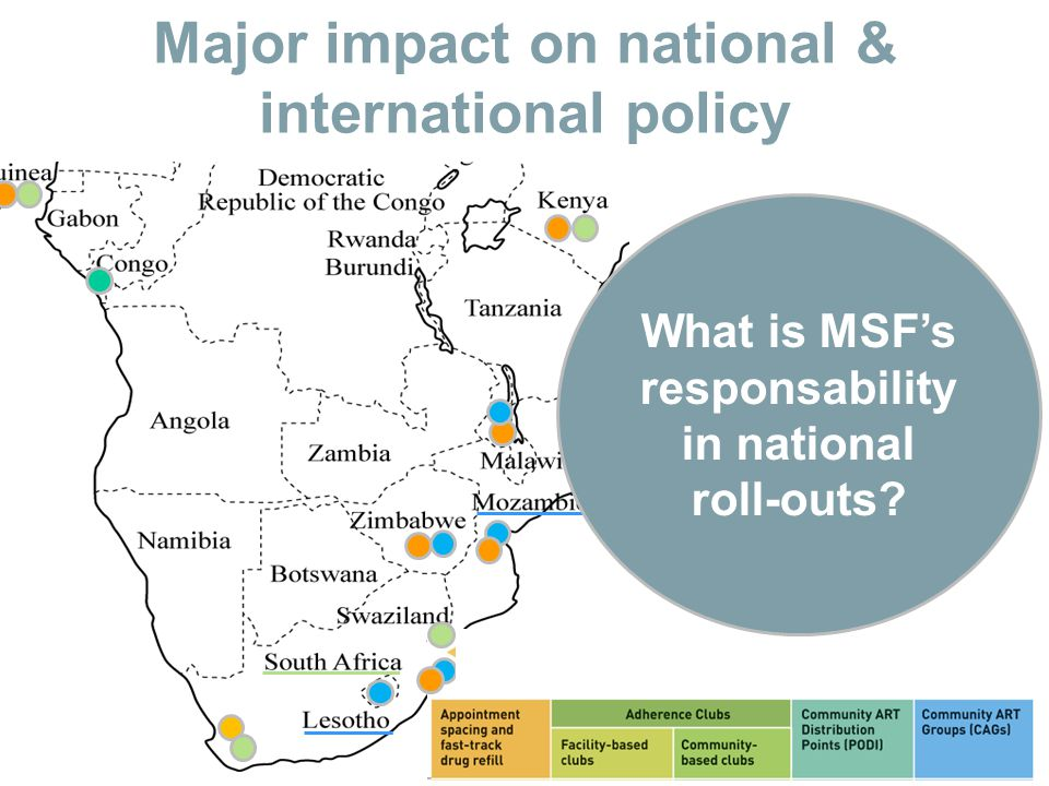 Major impact on national & international policy What is MSF's responsability in national roll-outs