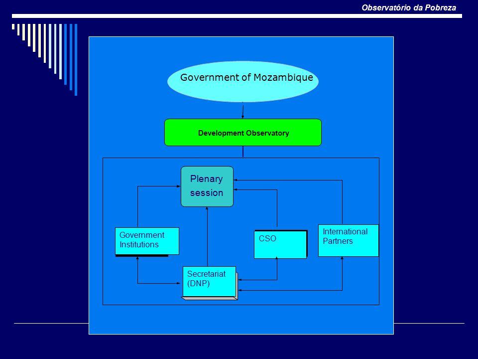 Observatório da Pobreza Plenary session Government Institutions CSO Development Observatory Government of Mozambique International Partners Secretariat (DNP)