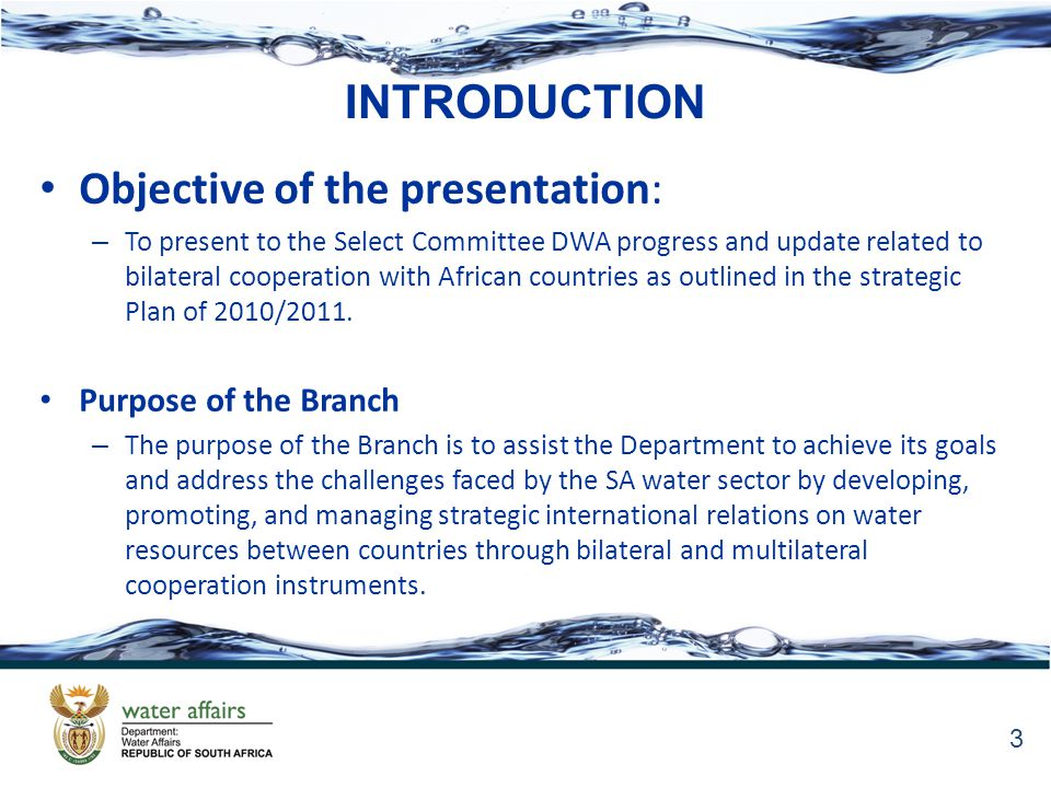 INTRODUCTION Objective of the presentation: – To present to the Select Committee DWA progress and update related to bilateral cooperation with African countries as outlined in the strategic Plan of 2010/2011.