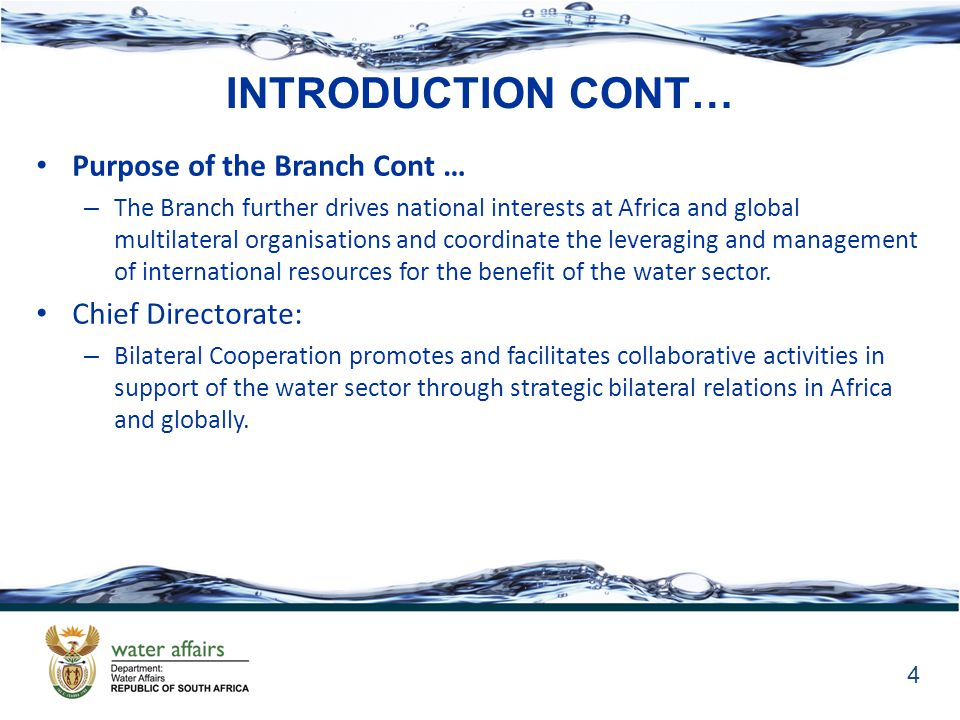 INTRODUCTION CONT… Purpose of the Branch Cont … – The Branch further drives national interests at Africa and global multilateral organisations and coordinate the leveraging and management of international resources for the benefit of the water sector.