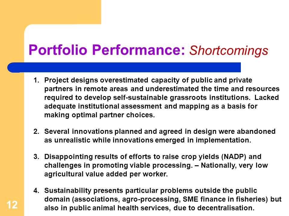 12 Portfolio Performance: Shortcomings 1.Project designs overestimated capacity of public and private partners in remote areas and underestimated the time and resources required to develop self-sustainable grassroots institutions.
