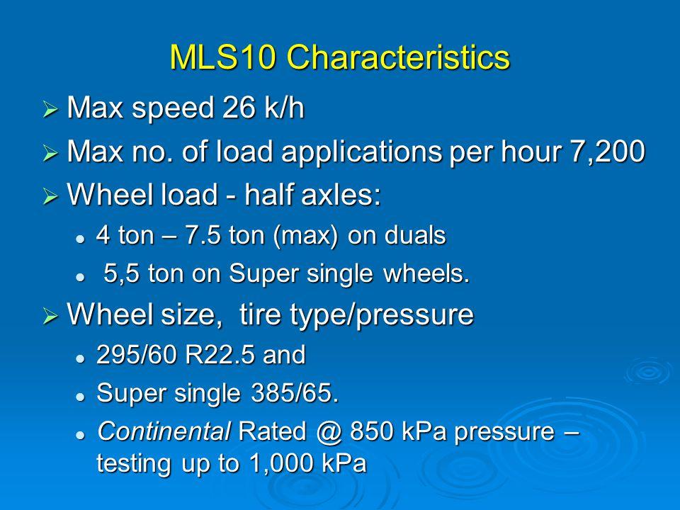 MLS10 Characteristics  Max speed 26 k/h  Max no.