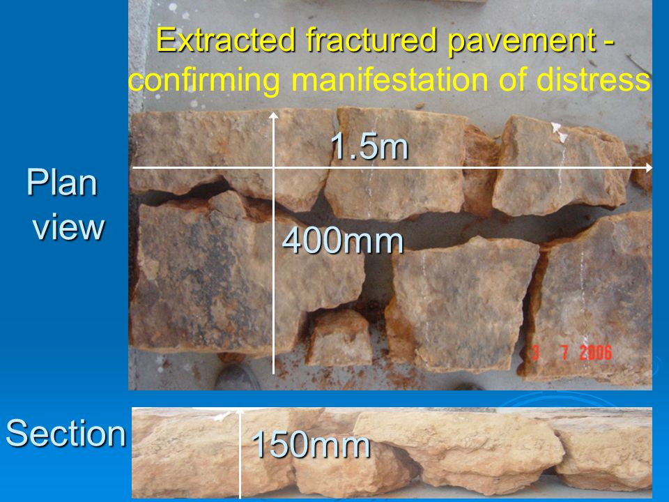1.5m 400mm 150mm Extracted fractured pavement - confirming manifestation of distress Planview Section