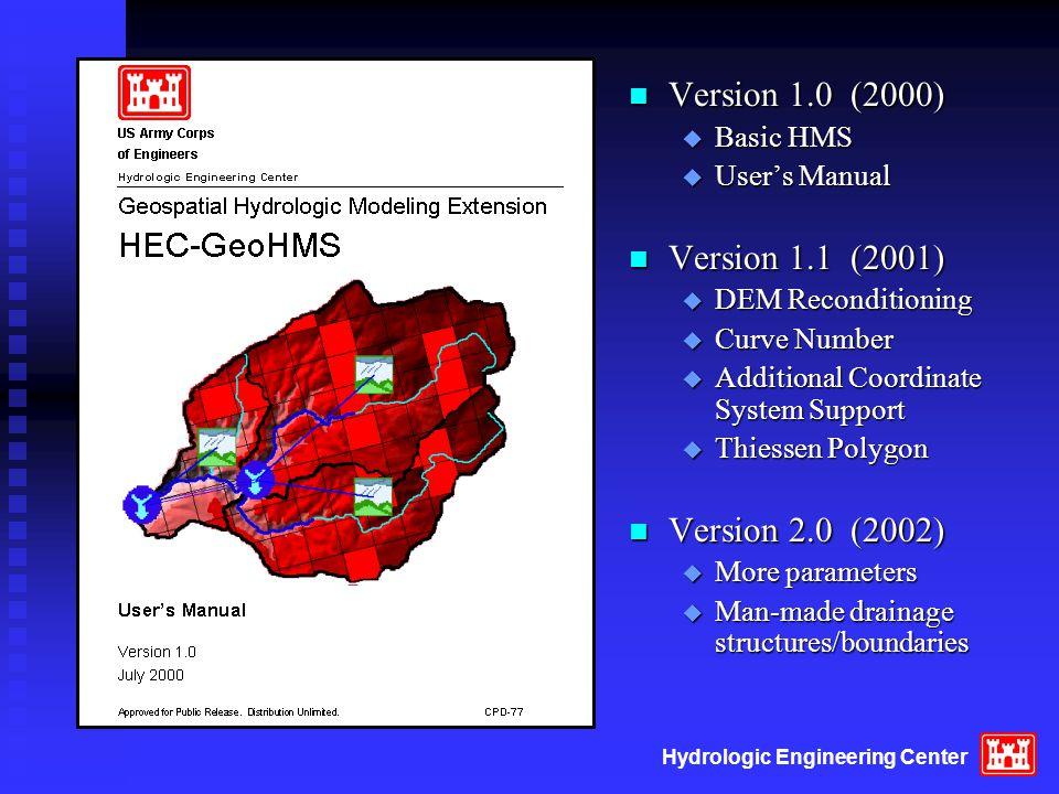 Hydrologic Engineering Center n Version 1.0 (2000) u Basic HMS u User's Manual n Version 1.1 (2001) u DEM Reconditioning u Curve Number u Additional Coordinate System Support u Thiessen Polygon n Version 2.0 (2002) u More parameters u Man-made drainage structures/boundaries