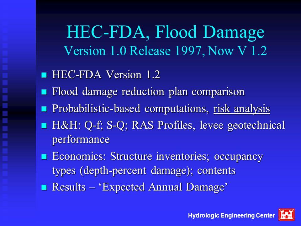 Hydrologic Engineering Center HEC-FDA, Flood Damage Version 1.0 Release 1997, Now V 1.2 n HEC-FDA Version 1.2 n Flood damage reduction plan comparison