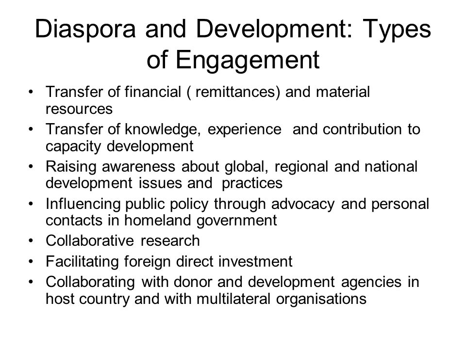 Diaspora and Human Resources for Health (HRH): The Origin and Nature of the Problem Migration of health professionals from SSA countries to Europe, North America and Australia – African 'Brain Drain' and colossal loss of investment in expensively- trained human capital; developed countries 'free-riding' on the education and training efforts of source countries.
