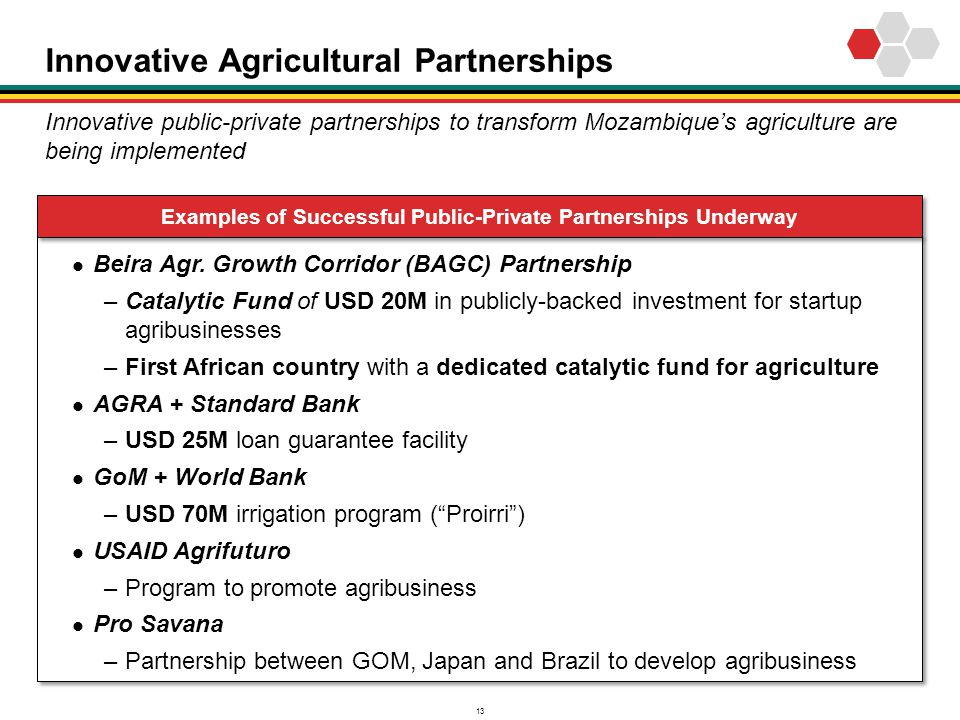 13 Innovative Agricultural Partnerships Beira Agr. Growth Corridor (BAGC) Partnership –Catalytic Fund of USD 20M in publicly-backed investment for sta