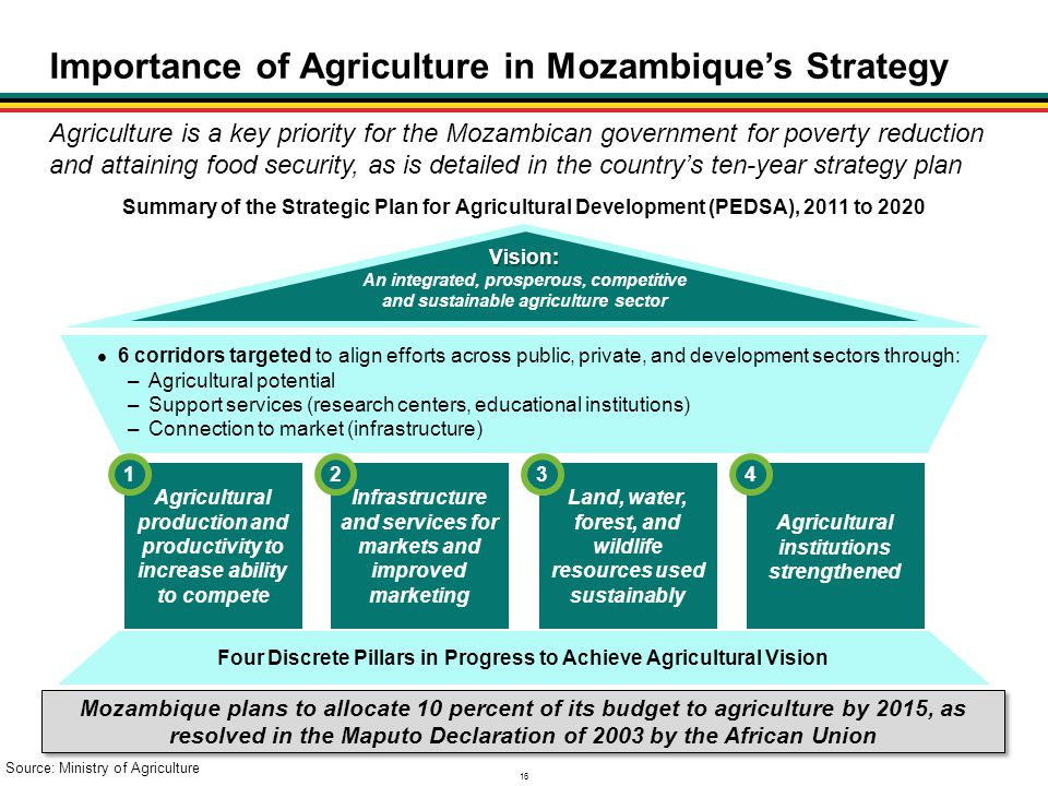16 Importance of Agriculture in Mozambique's Strategy Summary of the Strategic Plan for Agricultural Development (PEDSA), 2011 to 2020 Agriculture is