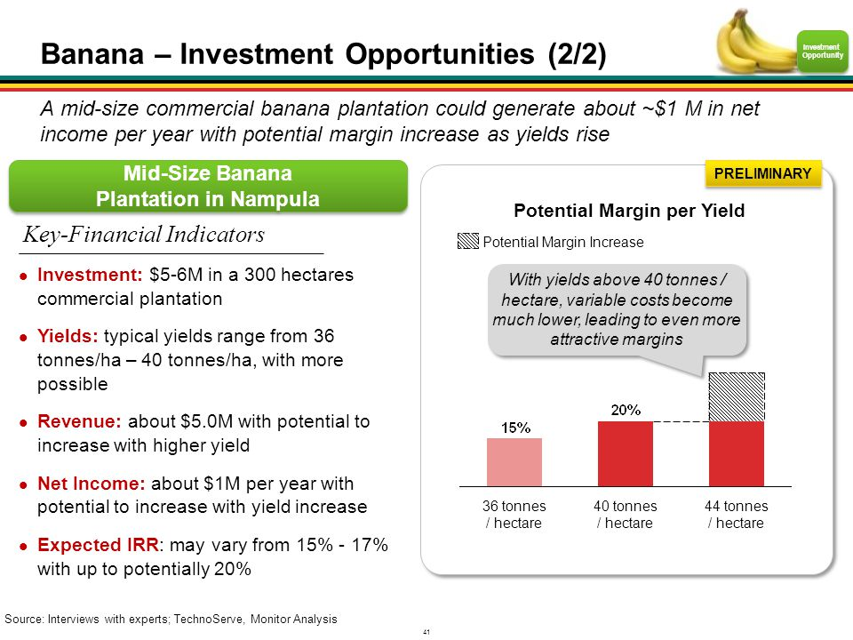 41 Mid-Size Banana Plantation in Nampula Source: Interviews with experts; TechnoServe, Monitor Analysis PRELIMINARY Potential Margin per Yield Investm