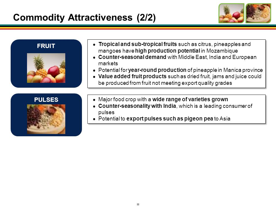 55 Commodity Attractiveness (2/2) Tropical and sub-tropical fruits such as citrus, pineapples and mangoes have high production potential in Mozambique