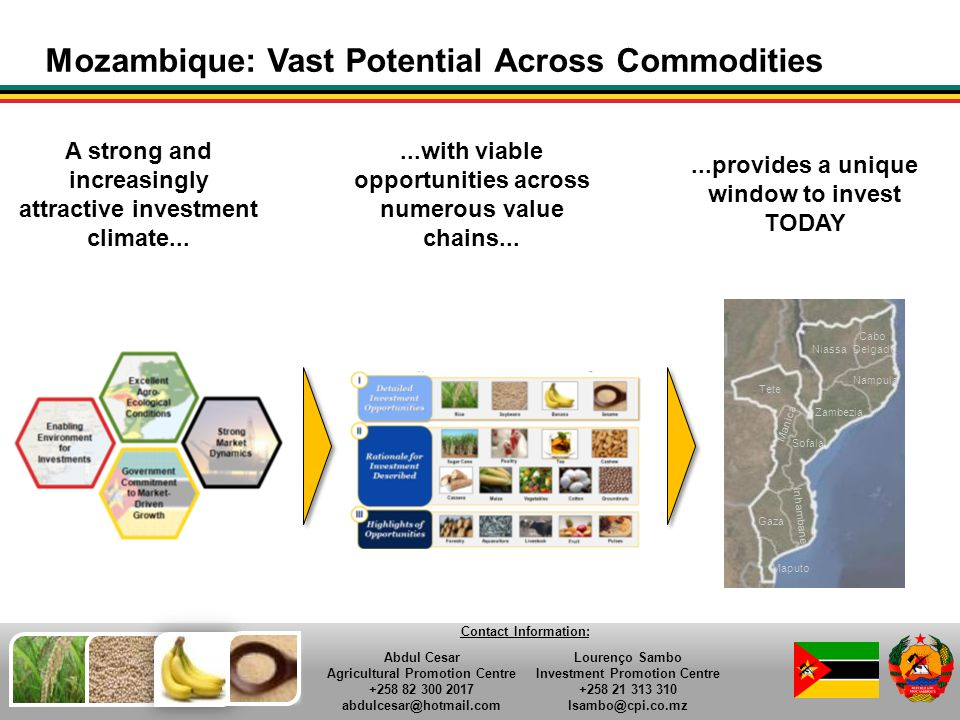 56 Mozambique: Vast Potential Across Commodities A strong and increasingly attractive investment climate......with viable opportunities across numerou