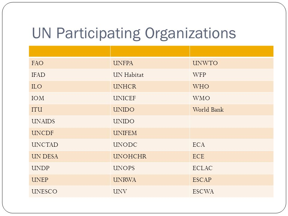 UN Agency Budget Share Other refers to UN Agencies with less than 4% and includes: IFAD, IOM, UNAIDS, ESCAP, ECLAC, WB, UNCDF, UNEP, UNHCHR, UNHCR, UNHABITAT, UNIDO, UNOPS, UNODC, UNRWA, UNV, UNIFEM and UNWTO