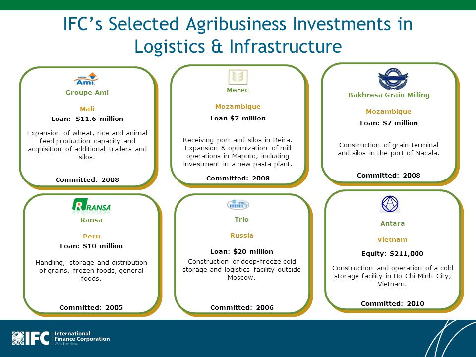 IFC's Selected Agribusiness Investments in Logistics & Infrastructure Ransa Peru Loan: $10 million Handling, storage and distribution of grains, frozen foods, general foods.