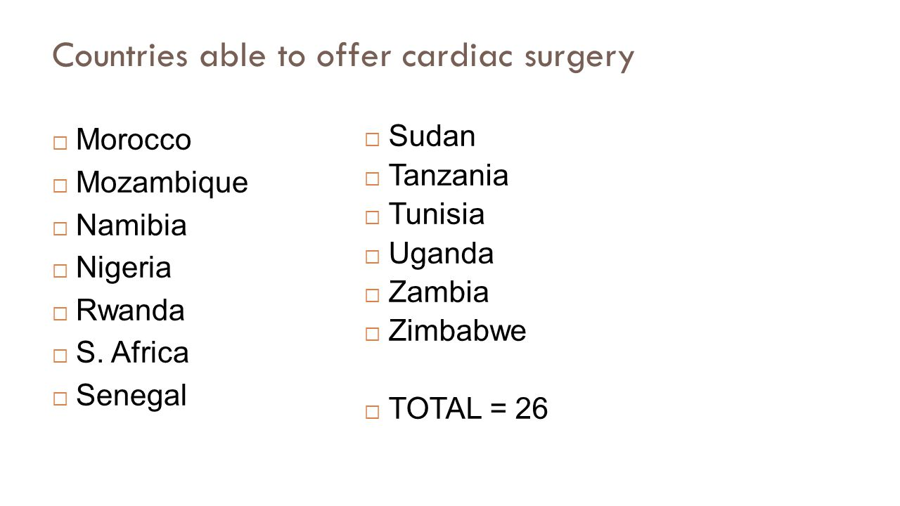 Countries able to offer cardiac surgery  Morocco  Mozambique  Namibia  Nigeria  Rwanda  S.