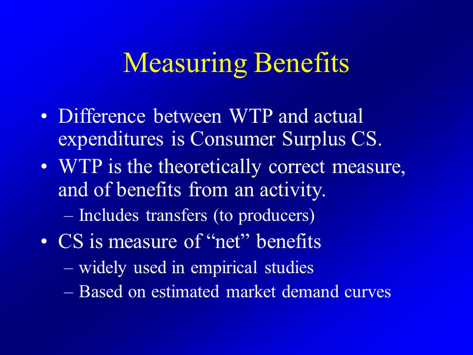 Measuring Benefits Difference between WTP and actual expenditures is Consumer Surplus CS.