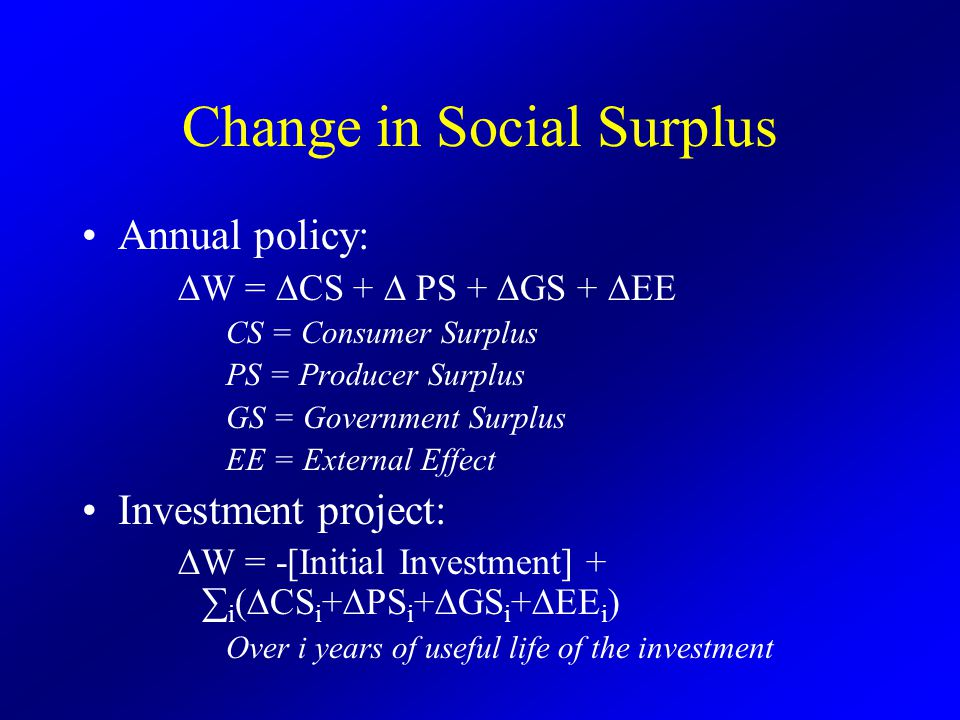 Change in Social Surplus Annual policy: ∆W = ∆CS + ∆ PS + ∆GS + ∆EE CS = Consumer Surplus PS = Producer Surplus GS = Government Surplus EE = External Effect Investment project: ∆W = -[Initial Investment] + ∑ i (∆CS i +∆PS i +∆GS i +∆EE i ) Over i years of useful life of the investment