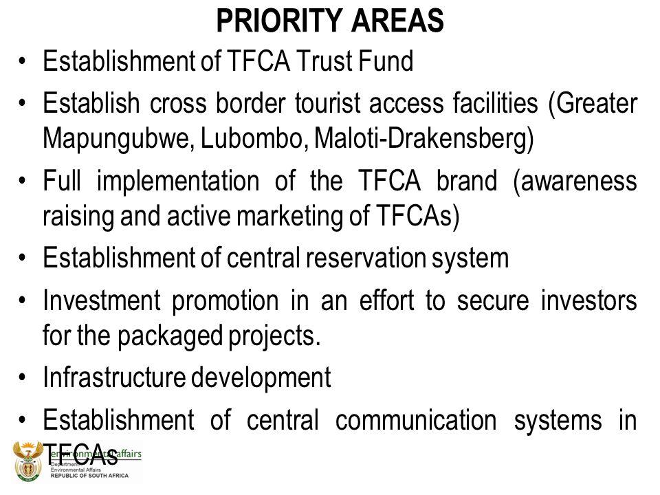 PRIORITY AREAS Establishment of TFCA Trust Fund Establish cross border tourist access facilities (Greater Mapungubwe, Lubombo, Maloti-Drakensberg) Ful