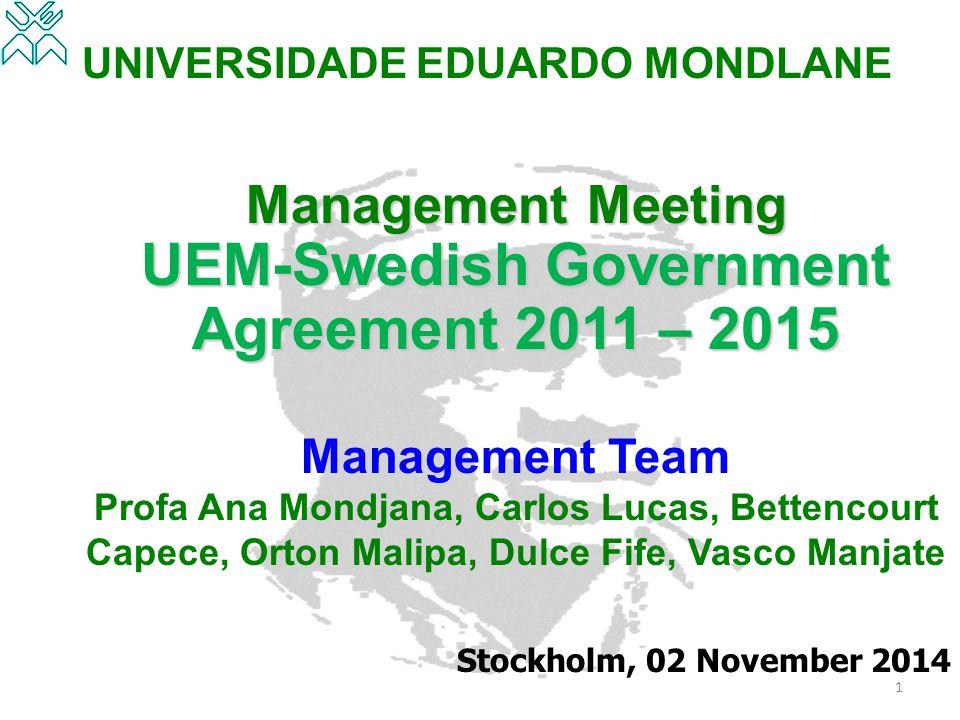 UNIVERSIDADE EDUARDO MONDLANE Management Meeting UEM-Swedish Government Agreement 2011 – 2015 Management Team Profa Ana Mondjana, Carlos Lucas, Betten