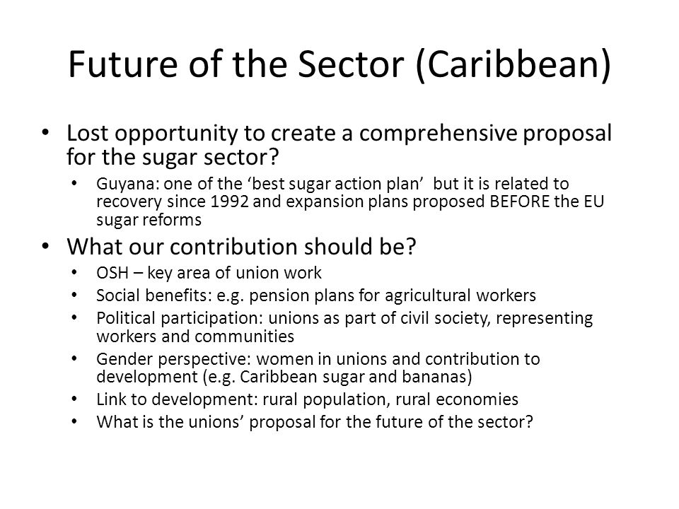 Future of the Sector (Caribbean) Lost opportunity to create a comprehensive proposal for the sugar sector.