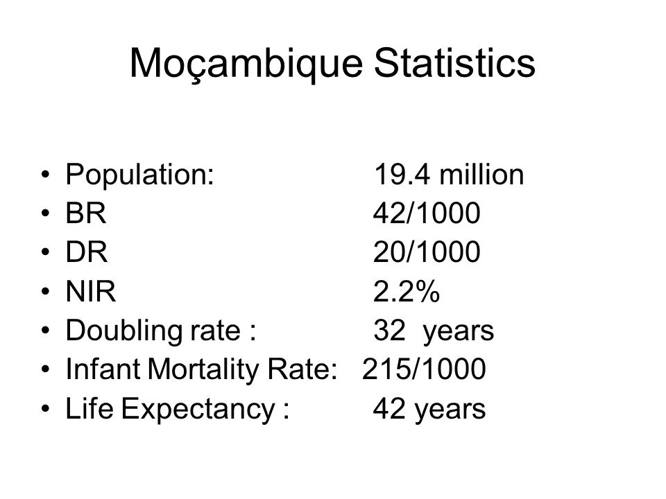 Moçambique Statistics Population:19.4 million BR 42/1000 DR 20/1000 NIR 2.2% Doubling rate : 32 years Infant Mortality Rate: 215/1000 Life Expectancy : 42 years
