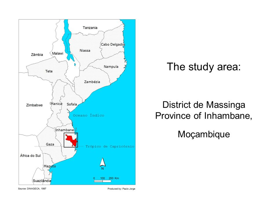 The study area: District de Massinga Province of Inhambane, Moçambique