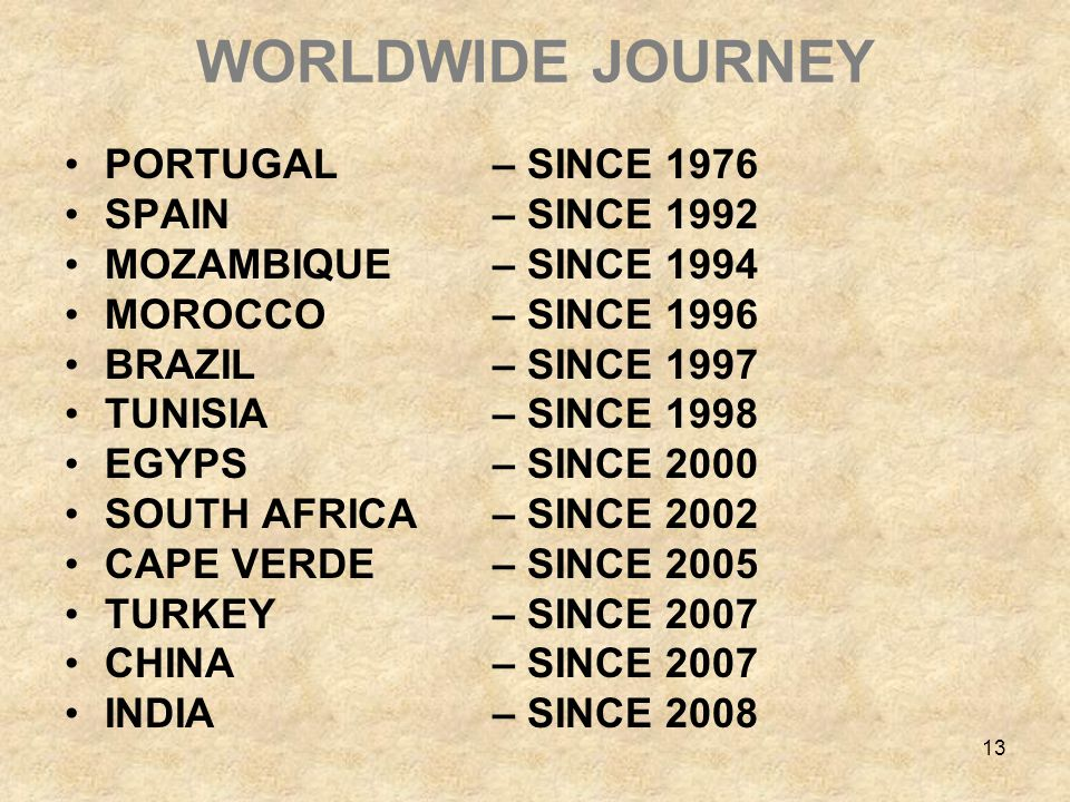 13 WORLDWIDE JOURNEY PORTUGAL – SINCE 1976 SPAIN – SINCE 1992 MOZAMBIQUE – SINCE 1994 MOROCCO – SINCE 1996 BRAZIL – SINCE 1997 TUNISIA – SINCE 1998 EGYPS – SINCE 2000 SOUTH AFRICA – SINCE 2002 CAPE VERDE – SINCE 2005 TURKEY – SINCE 2007 CHINA – SINCE 2007 INDIA – SINCE 2008