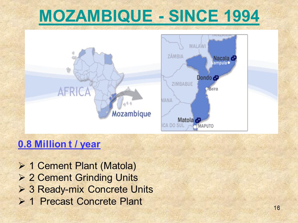 16 MOZAMBIQUE - SINCE 1994 0.8 Million t / year  1 Cement Plant (Matola)  2 Cement Grinding Units  3 Ready-mix Concrete Units  1 Precast Concrete Plant