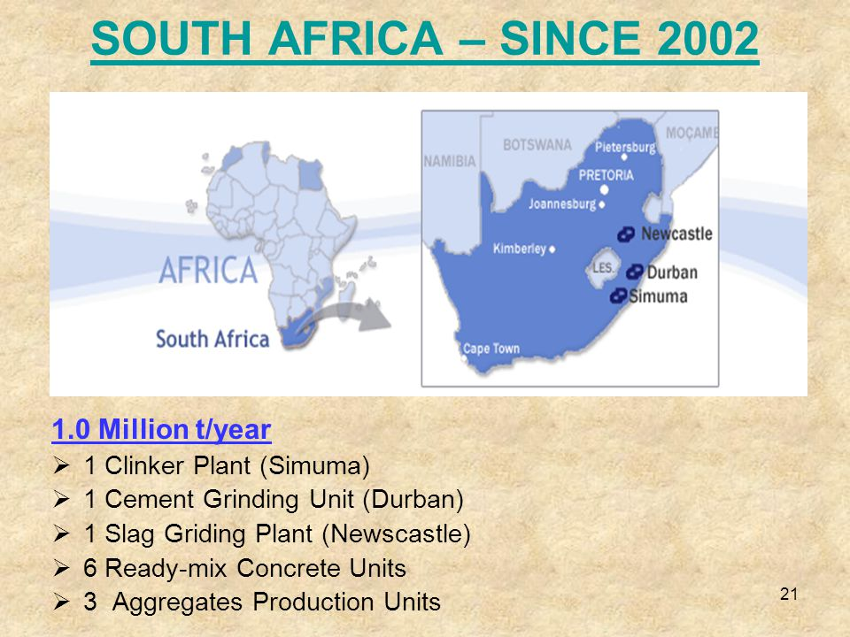 21 SOUTH AFRICA – SINCE 2002 1.0 Million t/year  1 Clinker Plant (Simuma)  1 Cement Grinding Unit (Durban)  1 Slag Griding Plant (Newscastle)  6 Ready-mix Concrete Units  3 Aggregates Production Units