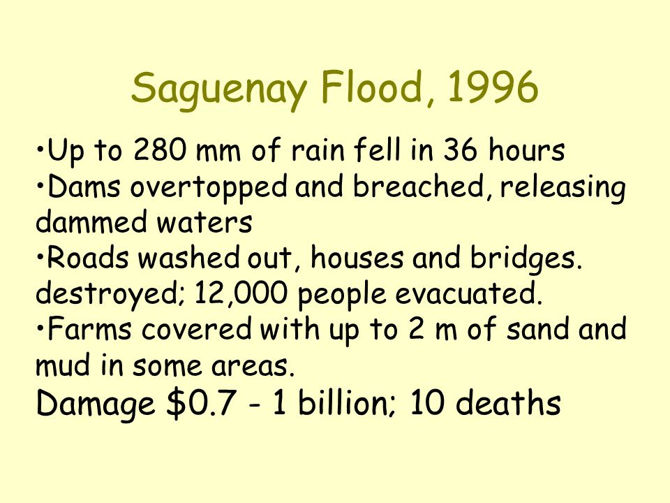 Saguenay Flood, 1996 Up to 280 mm of rain fell in 36 hours Dams overtopped and breached, releasing dammed waters Roads washed out, houses and bridges.