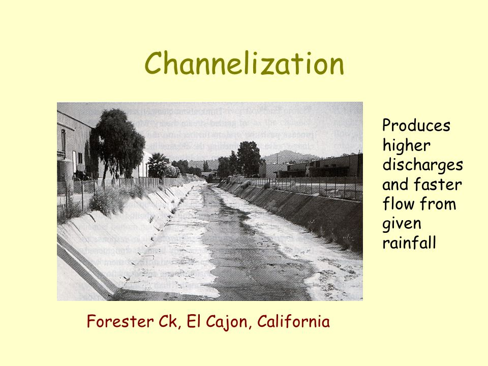 Channelization Forester Ck, El Cajon, California Produces higher discharges and faster flow from given rainfall
