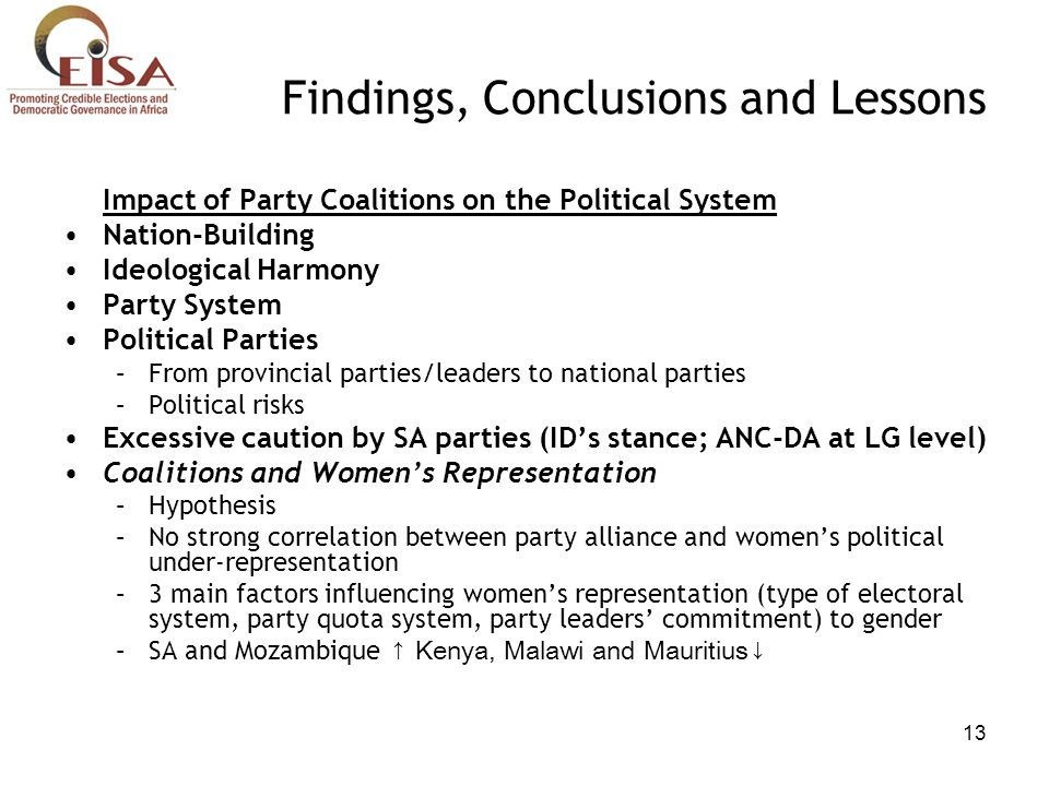 13 Findings, Conclusions and Lessons Impact of Party Coalitions on the Political System Nation-Building Ideological Harmony Party System Political Par