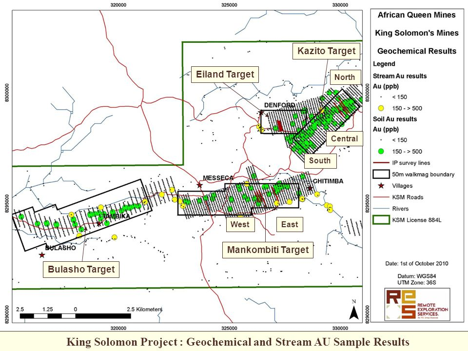 Mankombiti Target Bulasho Target Kazito Target Eiland Target WestEast South Central North King Solomon Project : Geochemical and Stream AU Sample Results