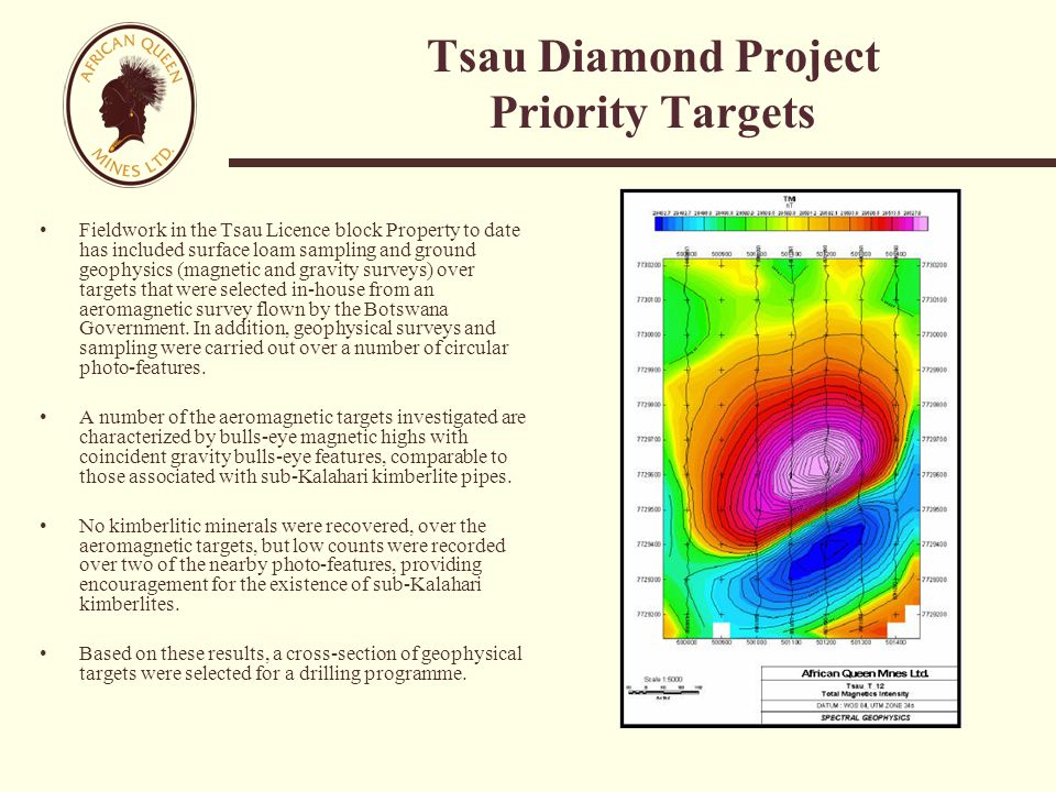 Tsau Diamond Project Priority Targets Fieldwork in the Tsau Licence block Property to date has included surface loam sampling and ground geophysics (magnetic and gravity surveys) over targets that were selected in-house from an aeromagnetic survey flown by the Botswana Government.