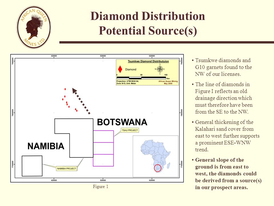 Diamond Distribution Potential Source(s) Tsumkwe diamonds and G10 garnets found to the NW of our licenses.