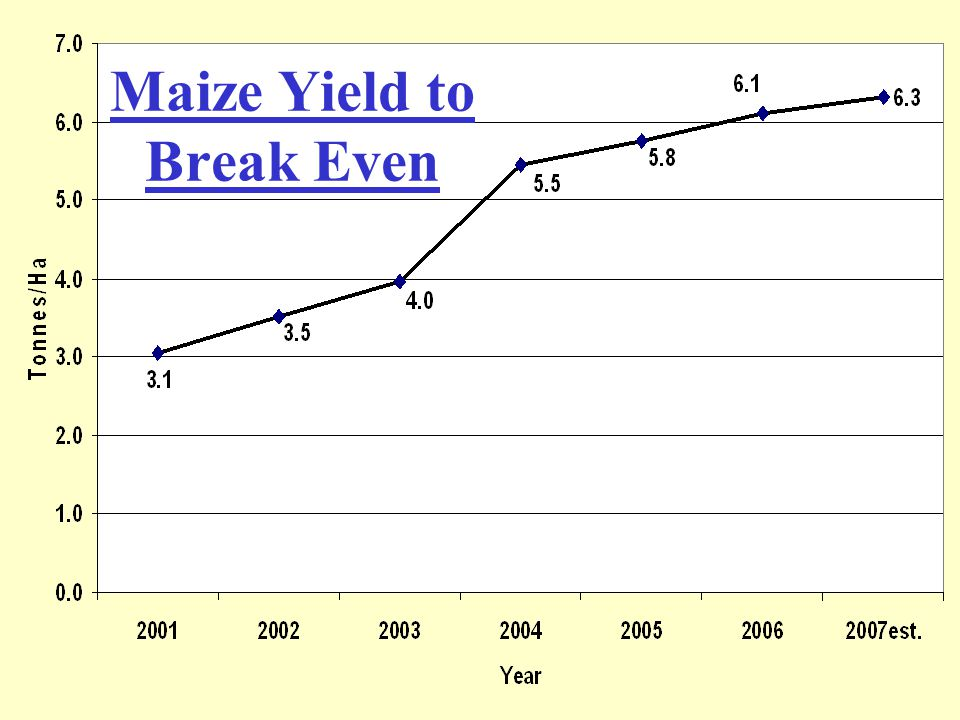Maize Yield to Break Even