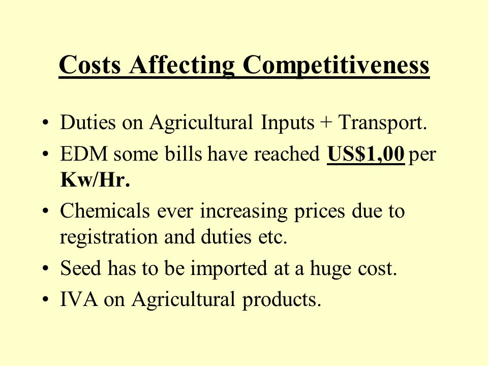 Costs Affecting our Competitiveness Labour disputes being entertained by courts when they have clearly NO CASE and the employer incurs all the costs even if he wins or is in the right.Again this uses up endless hours of valuable management time.