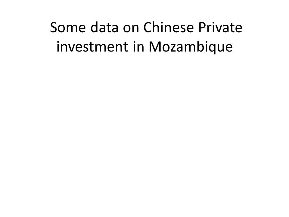 Some data on Chinese Private investment in Mozambique