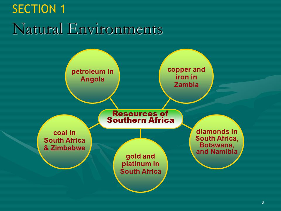 3 SECTION 1 Natural Environments Resources of Southern Africa petroleum in Angola copper and iron in Zambia coal in South Africa & Zimbabwe diamonds i